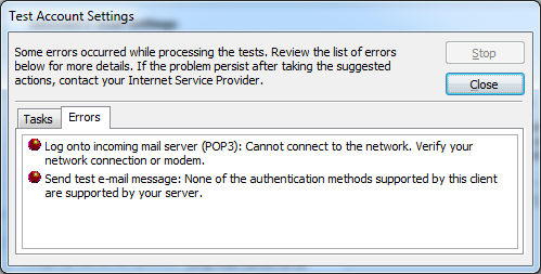 Error Message Microsoft Outlook 2007