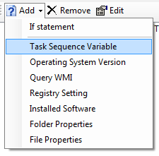 adding task sequence variable