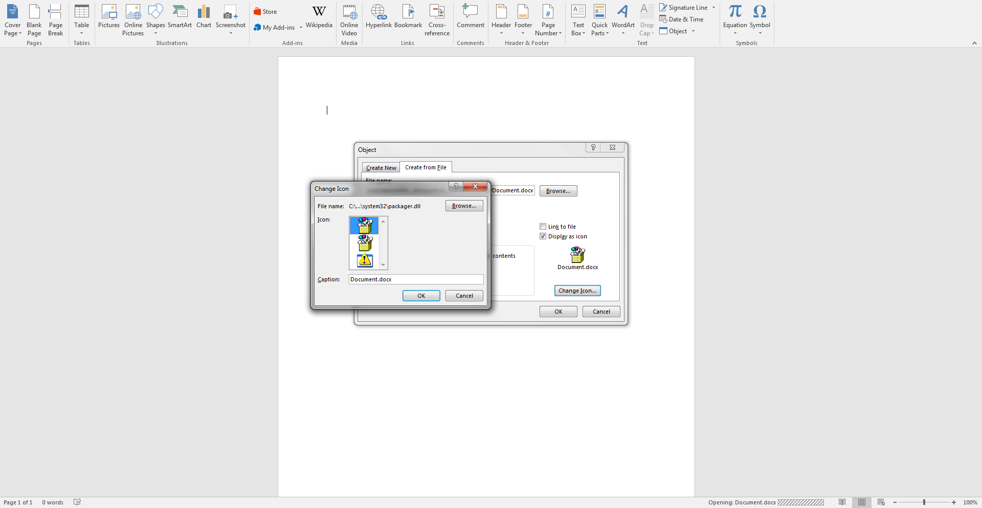 Word 2016 (Office 365 ProPlus) insert object icon problems