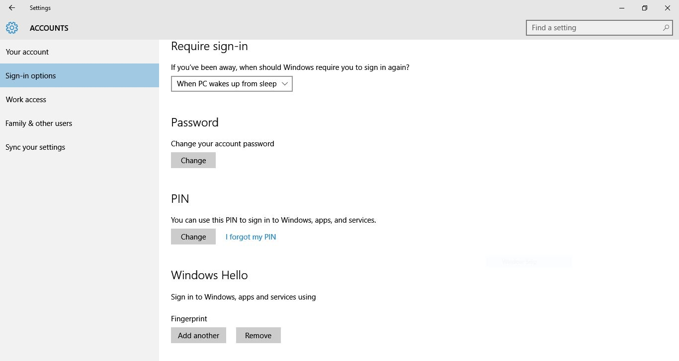 Windows Hello Configured with fingerprint but Not Showing when