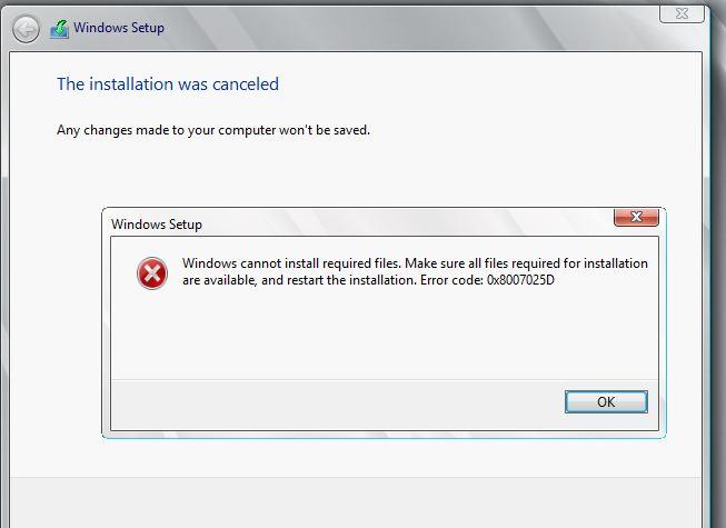 Error Code-0x8007025D :For Windows server 2008 R2 Installation in VMWARE