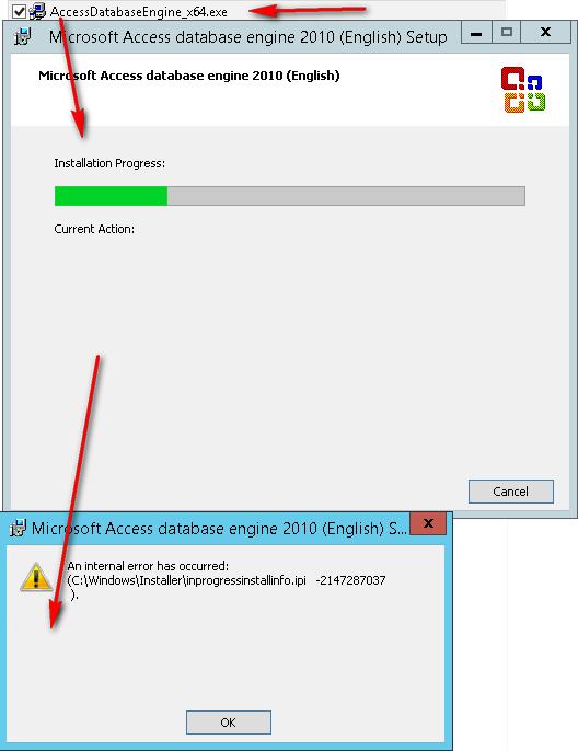 Установка AccessDatabaseEngine, ошибка инсталляции -2147287037