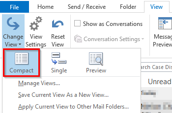 how to change outlook layout