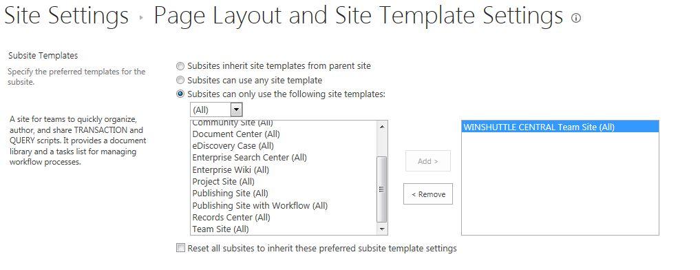 sharepoint 2013 subsite templates