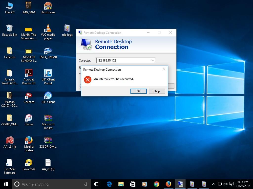 remote desktop an internal error has occurred in windows 10 pro