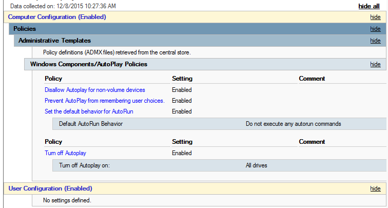 Windows 10 AutoPlay - AutoPlay Policies GPO