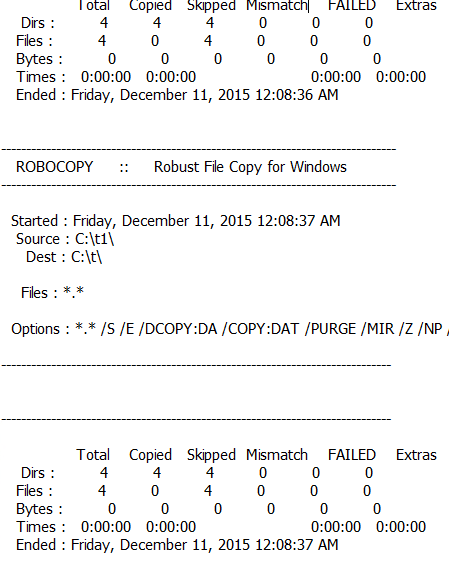 Repeat RoboCopy batch file in Windows 10 gives different ...