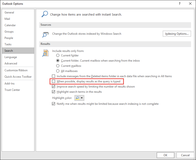 Clearing outlook search history cw ccuart Choice Image
