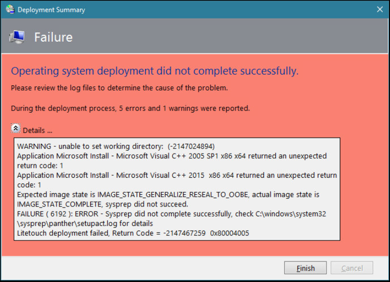 Sysprep fails for Window is not defined