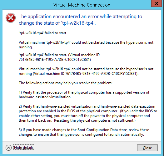 Hyper-V Server TP4 on HP Proliant DL380 G5: virtual machine