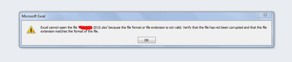 File Excel 2010 Corrupted