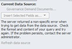 Data Source Error when adding it to Data View