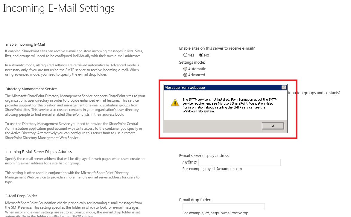 Unable to configure incomming email setting error the smtp