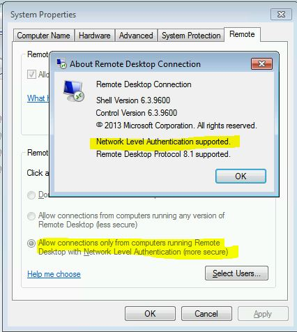 RDP issues, remote computers requires network level authentication