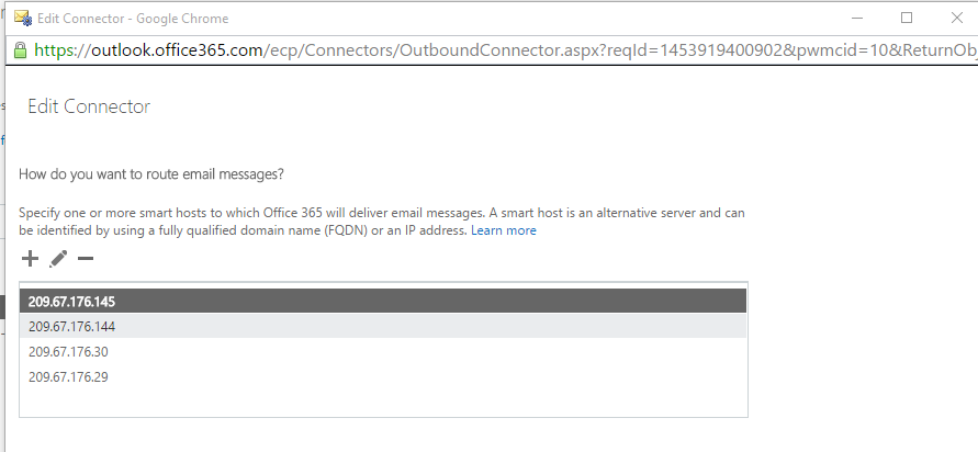 Hybrid mail flow FQDN smart host