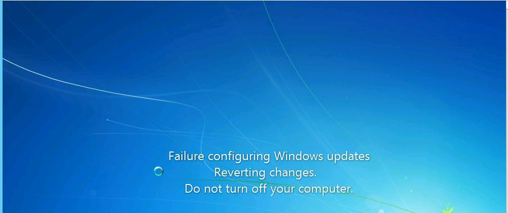 Windows Update Failed configuring Windows updates  Reverting