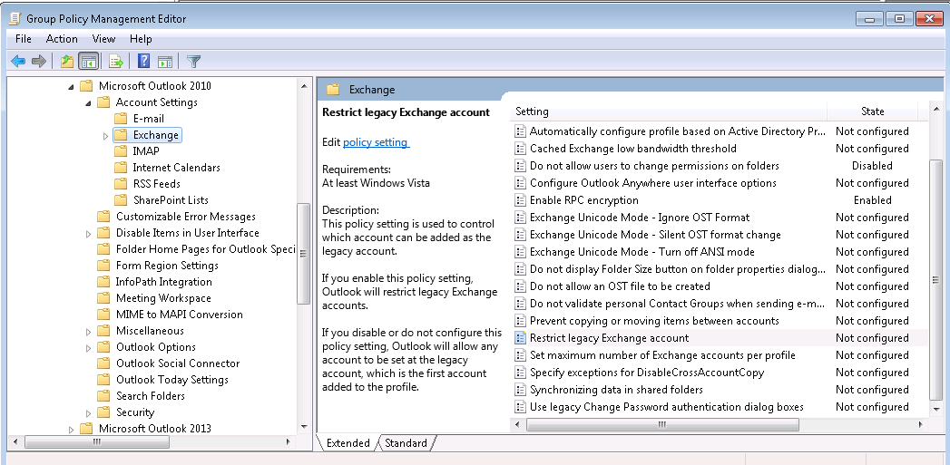 have imported the template and have the oa options for outlook 2013 but nothing for 2010