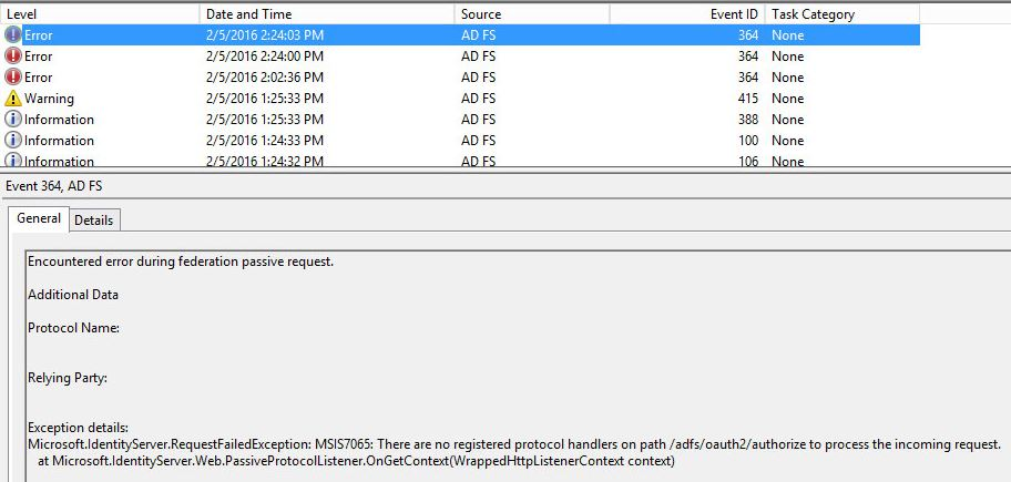 ADFS 3 0 problem! No registered protocol handlers on path /adfs/oauth2