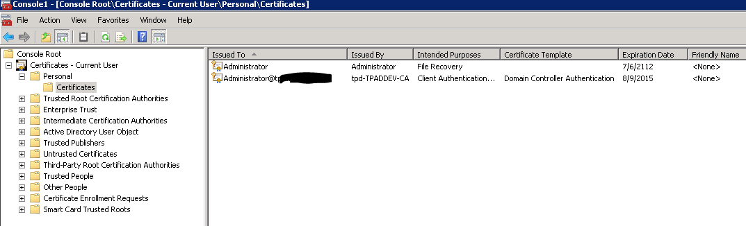 Domain controller authentication certificate renewal issue as you can see the certificate is in current user pronofoot35fo Choice Image