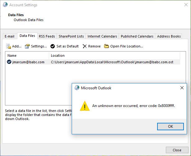 Error 8000ffff Adding Data Files