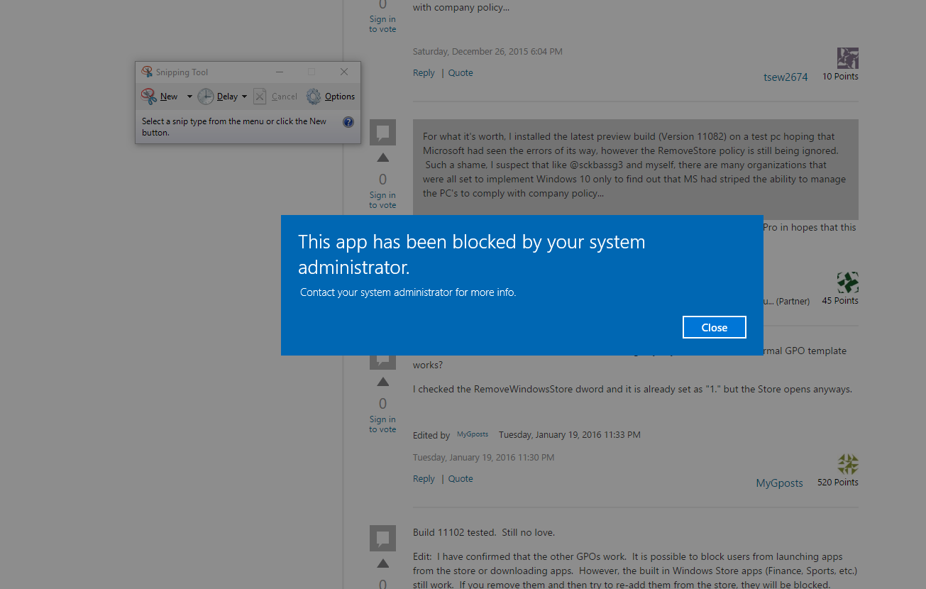 Group Policy to block Store not working after November 2015 Update