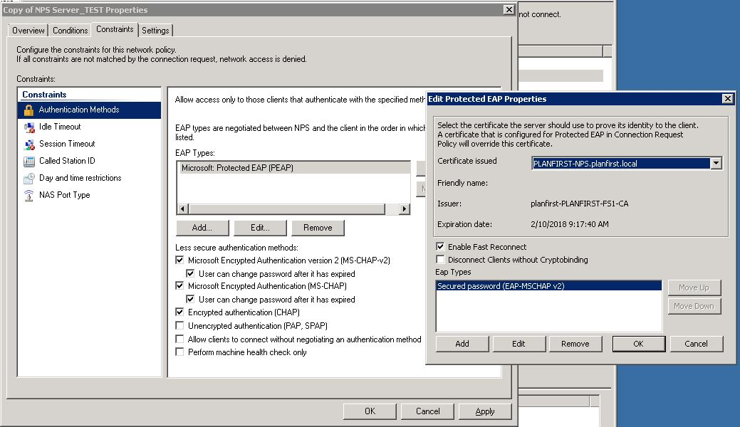 Wired 802.1x CHAP authentication HP Procurve 2530 and Windows 2008 ...