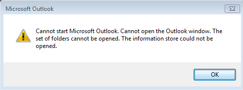 Cannot start microsoft outlook. Cannot open the outlook window. The