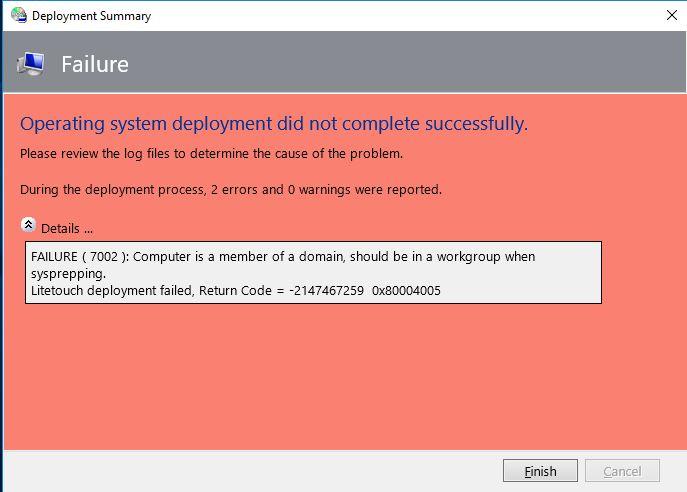 Failure Msg 7002