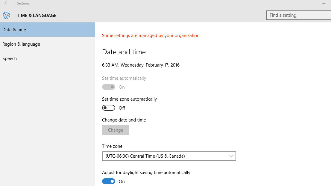 Some settings are managed by your organization: Cannot change time