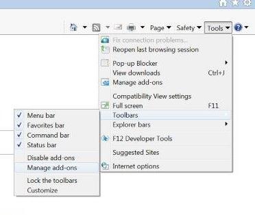 Internet Explorer 11 toolbars missing