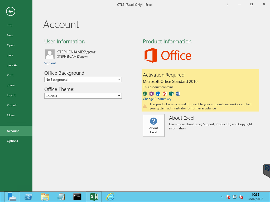 Excel 2016 - Now asking for Windows Security credentials when