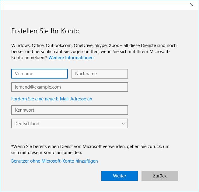 Create user account, screen 2
