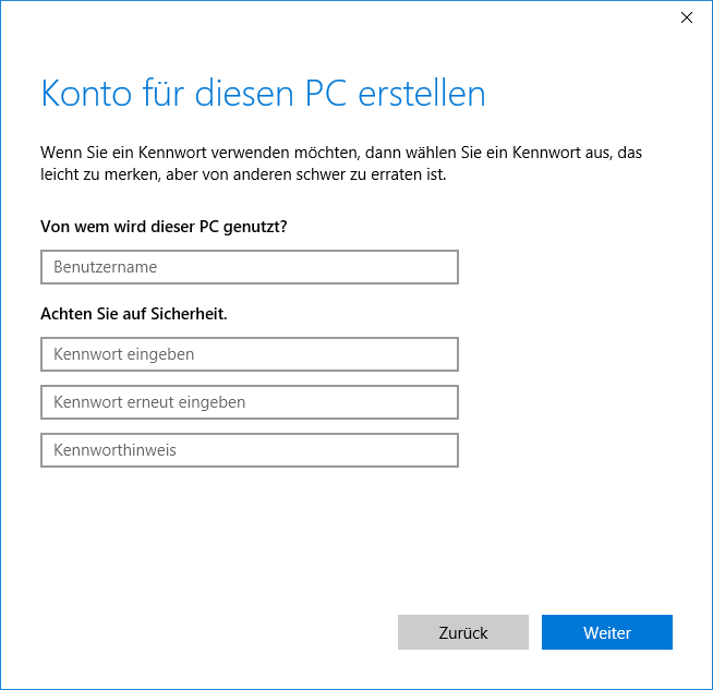 Create user account, screen 3