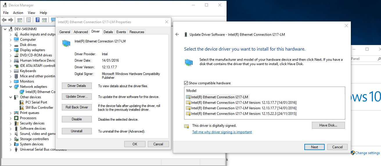 Intel i217/8-LM Network Drivers will not install during OSD to W10