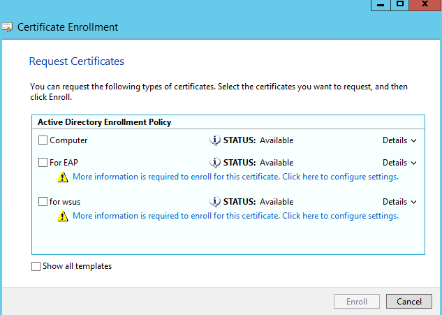 Can't seem to renew certificate from CA on are NPS server
