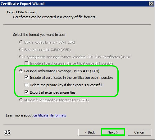 Exporting certificate from computer personal store using