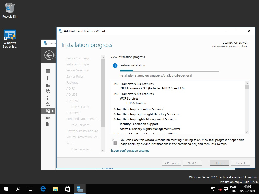 instalando o .Net Framework 3.5 no Windows Server 2016 Technical Preview 4
