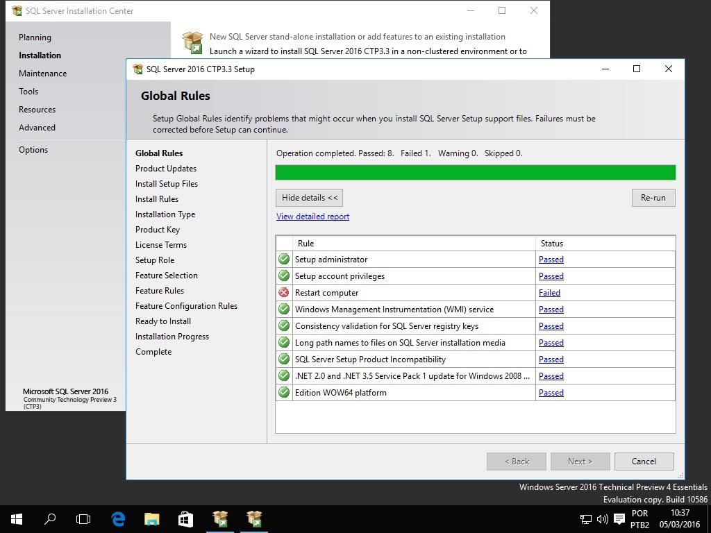 sql server 2016 global rules