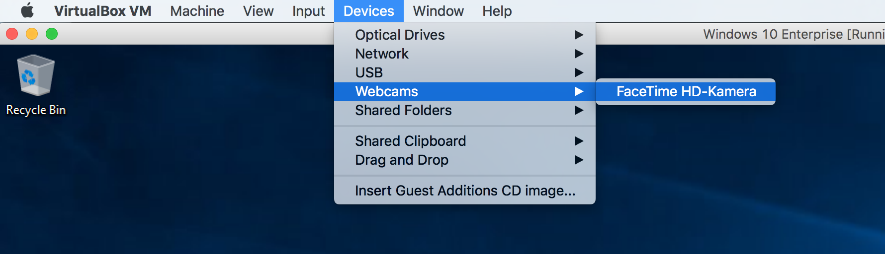 Camera on Windows 10 VM in VirtualBox on Mac OS X