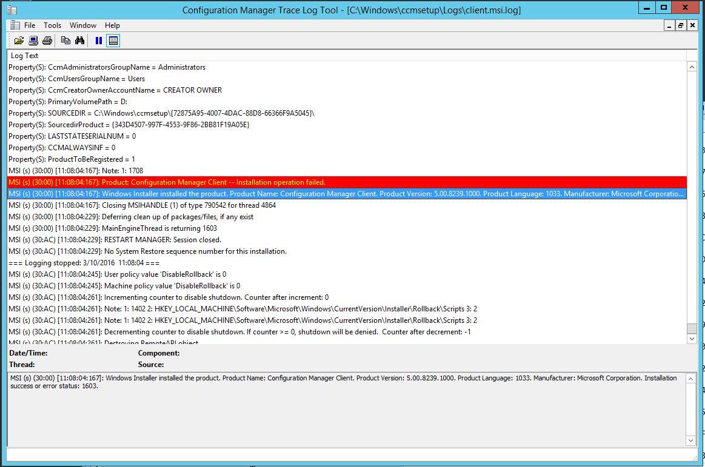 SCCM 2012 client installation retrun 1603 error