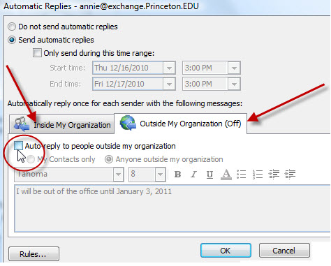outlook express how to send out of office reply