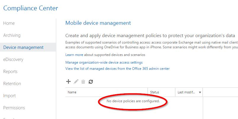 Mobile device management not set up but is being enforced devices employed by our office based non technical users would far outweigh the potential benefit so i decided not to implement the policy and deleted maxwellsz