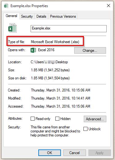 Cannot open .xlsx file