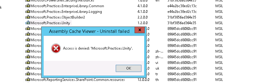 Unable to Delete\Uninstall C:\Windows\assembly content on 2012 server