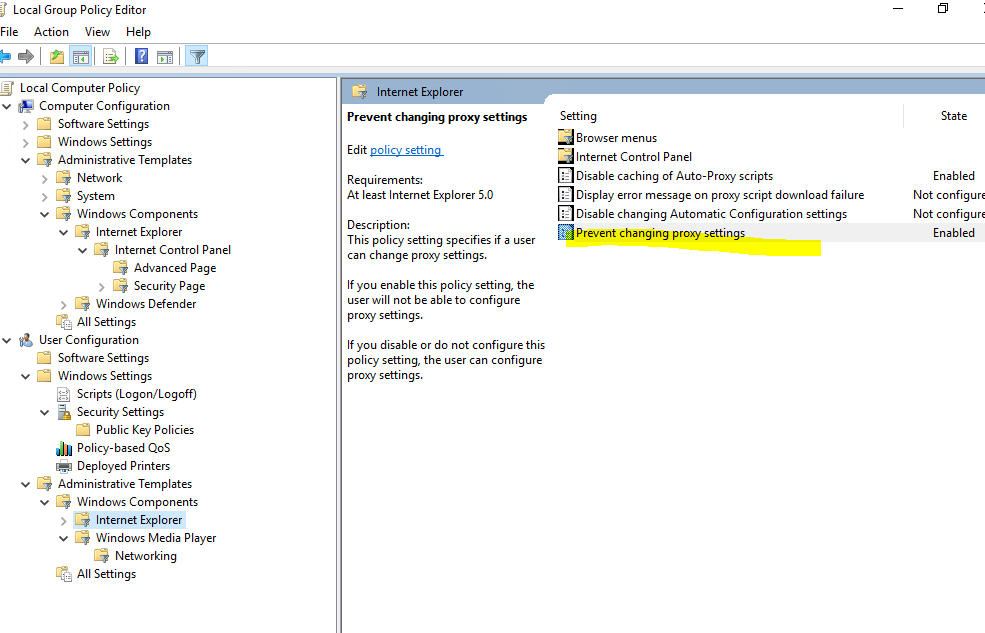 How to disable automatic proxy caching in internet explorer.