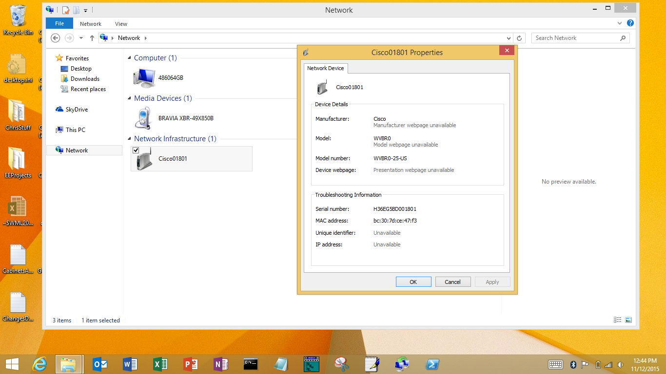 Wait a sec   File Explorer showing I have a Cisco network