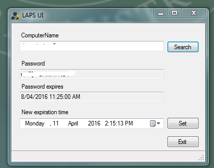 LAPS - password expiration set to 30 days