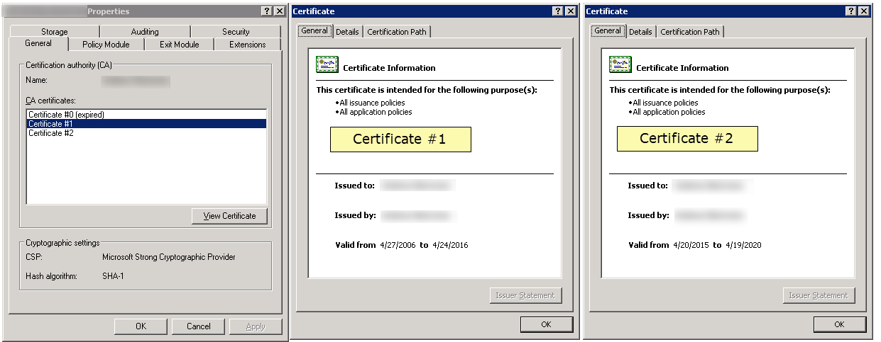 Issue with renewing ca and nps certificates 2 ent subordinate ca windows server r2 1 year and 2 years certificates but validity period is 3 years ca1 server yadclub