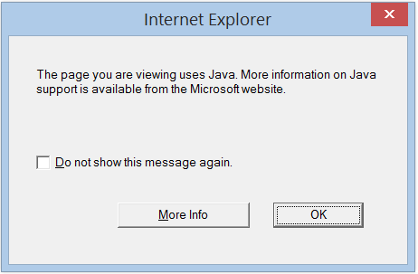 IE message about Java