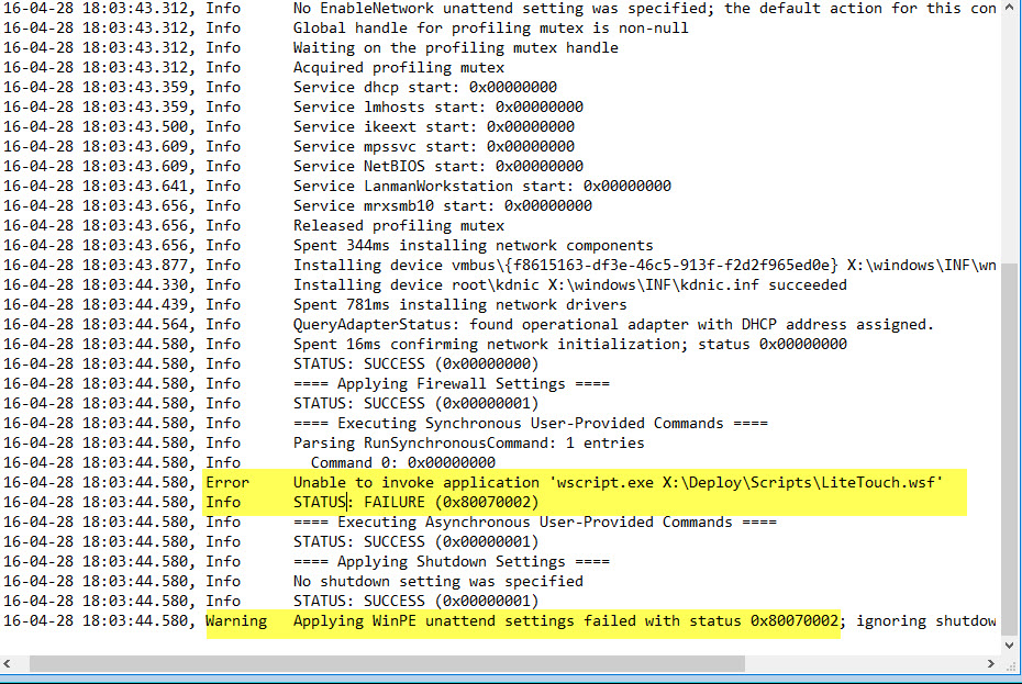 Unable to invoke application 'wscript exe X:\deploy\Scripts
